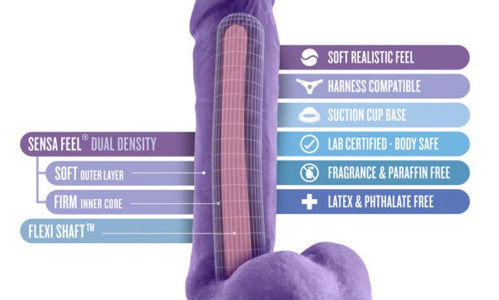 Au Natural - Bold - Hero - 8 Inch Dildo - Purple