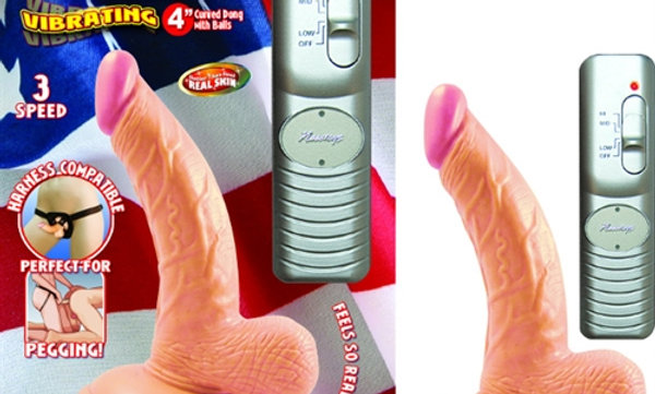 All American Mini Whoppers  Vbrating 4-Inch Curved Dong W/balls-Flesh