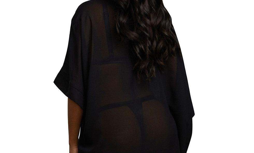 3 Piece Robe, Bralette & Thong Set - Large -  Black