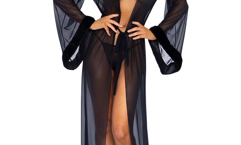3pc Fur Trimmed Robe Set - Black - One Size