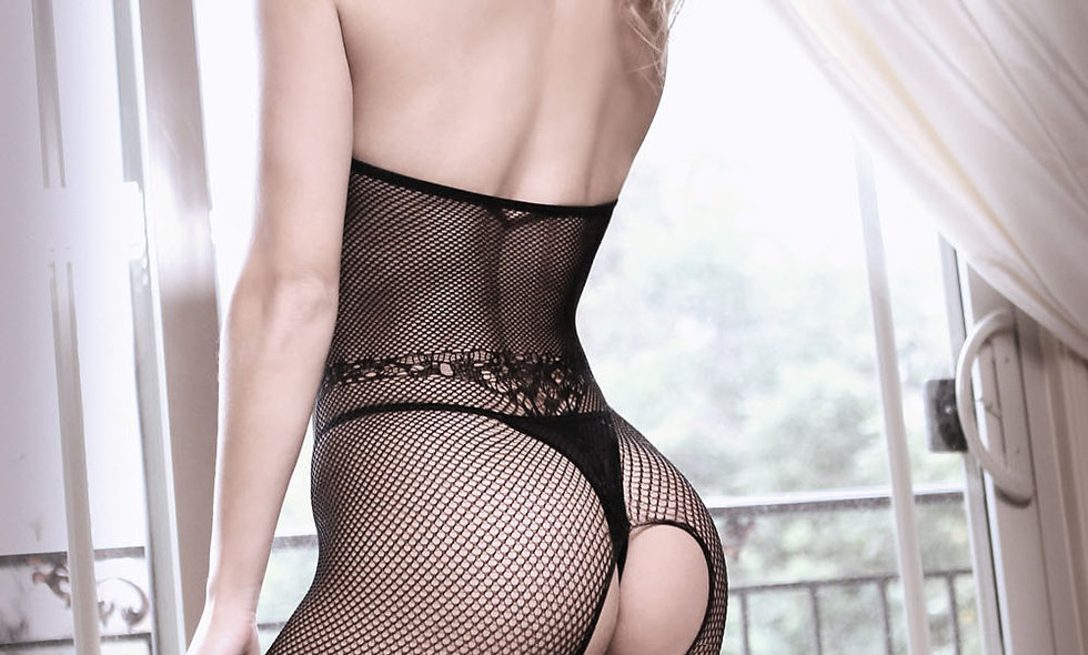 Back to Black Lace Bodystocking With Ornate  Tattoo  - Black - One Size