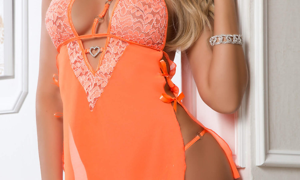 3pc Halter O-Ring Babydoll and Panty Garter -  One Size - Neon Peach