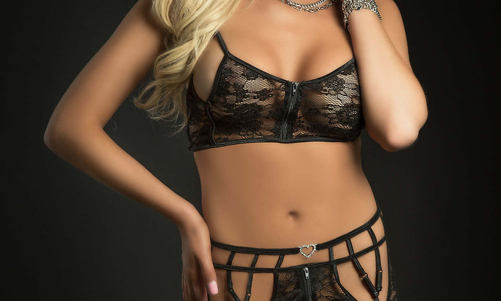 3pc Playfull Garter Zip Skirt and Top With Stockings - One Size - Black