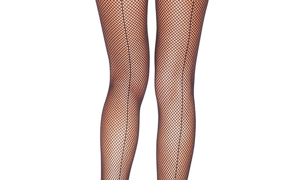 Backseam Fishnet Pantyhose - One Size - Black