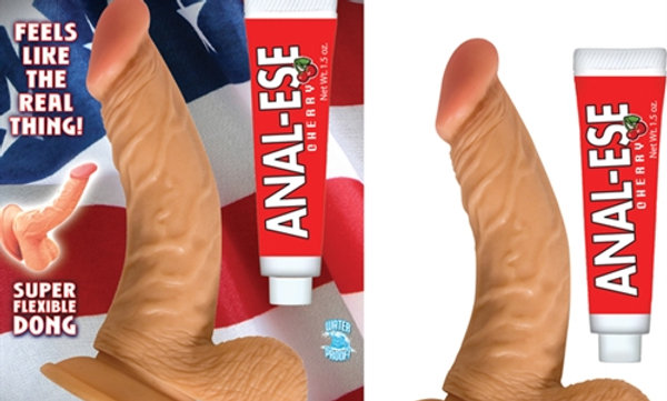 All American Whoppers 6.5-Inch Curved Dong With Balls Lube -Flesh
