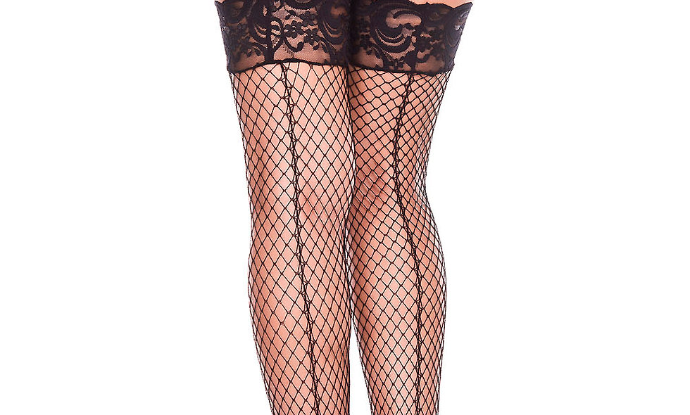 Backseam Silicone Lace Top Spandex Mini Diamond Net Thigh Hi - One Size - Black