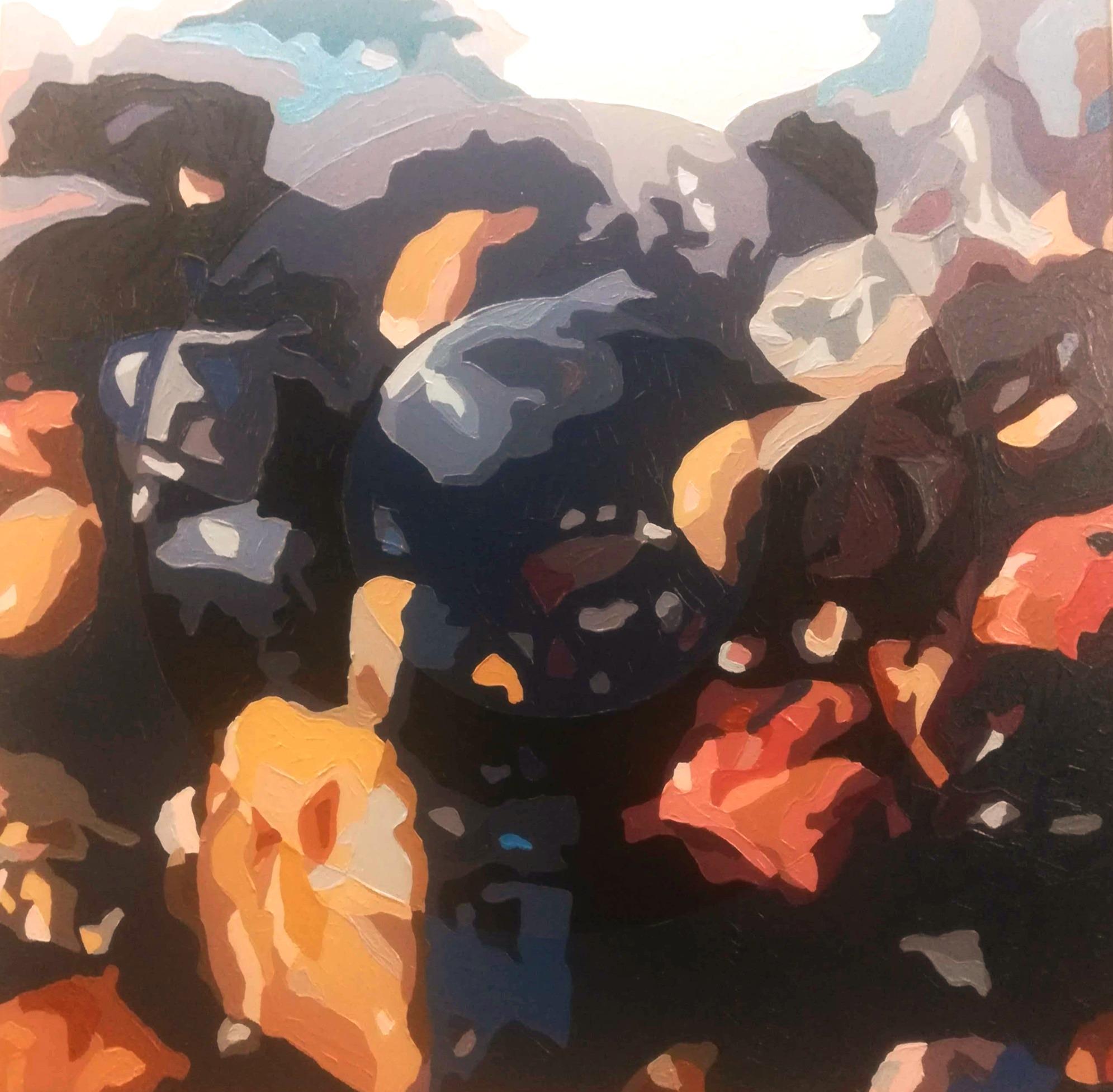 Sten i strandkanten - 60cmX60cm