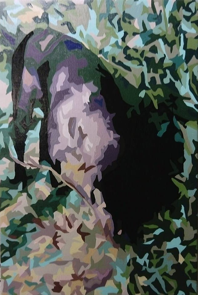 Vovhund i skoven 2 - 60cmX40cm
