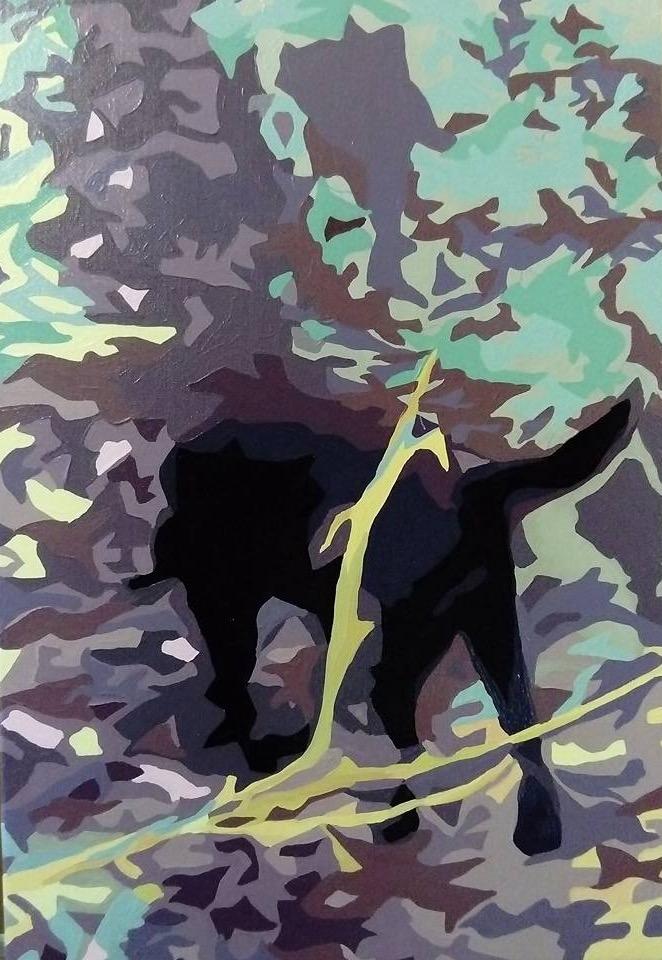 Vovhund i skoven - 60cmX40cm