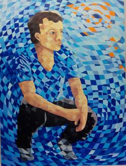 Young Man Sitting - 80cmX60cm