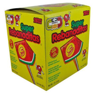 Super Rebanadita Watermelon lollipop with chilli powder 20 units