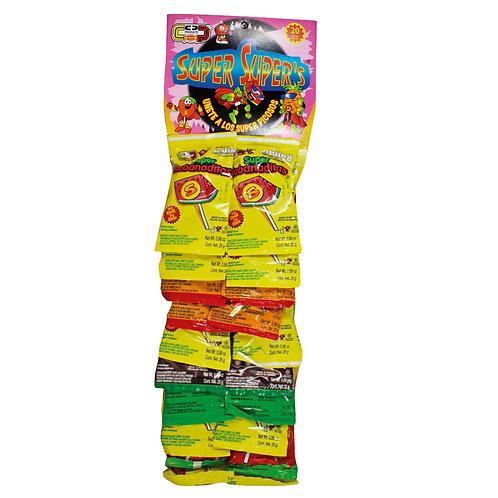 Super Super Rebanadita strip lollipop with chilli powder MIX 20ct