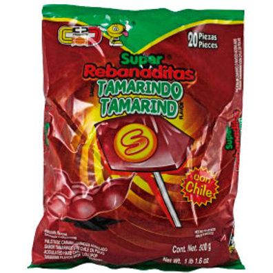 Super Rebanada Tamarindo lollipop with chilli powder 20ct