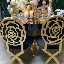 Gold Rose back Chairs available in white
