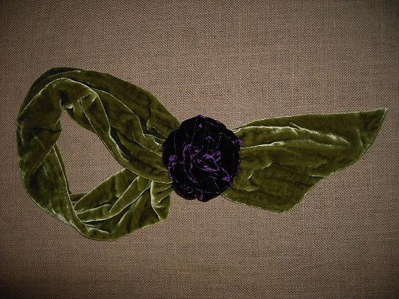 ROSE SCARF ( green/purple )