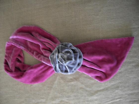 ROSE SCARF ( pink/grey )
