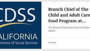 CACFP Branch Chief Career Opportunity - Closes November 1