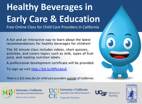 Online Professional Development Class on Healthy Beverages in Early Care & Education