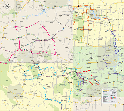 Road Map Of Wyoming And South Dakota Tidal Treasures - Map of south dakota