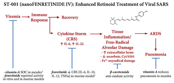 Graphical depiction of ST-001 nanoFenretinide's potential multiple mechanisms of action in the treatment of patients infected with COVID-19 (SARS-CoV-2).