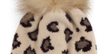 Cheetah Print Pom Beanie