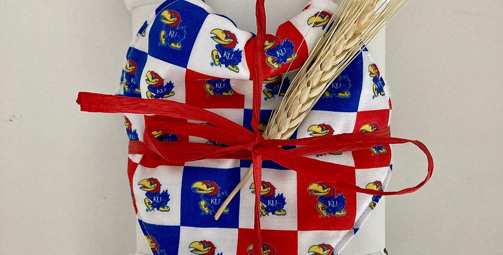 Jayhawk Swaddle Blanket + Wooden Teether