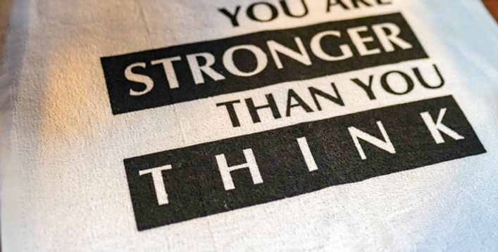 Stronger than you think sweat towel