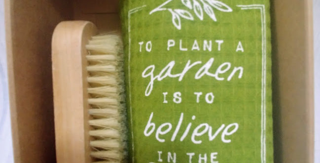 Gardening Tea Towel + Nail Brush