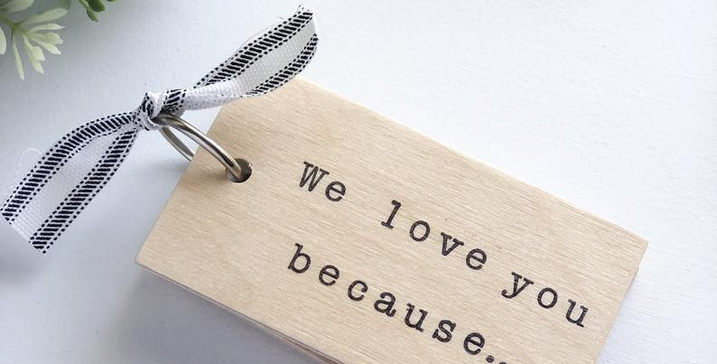 We love you because wooden notebook