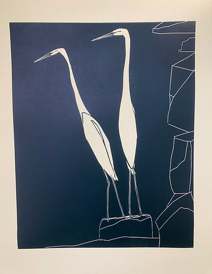 """"""" White Herons on a Rock """" Sold Out"""