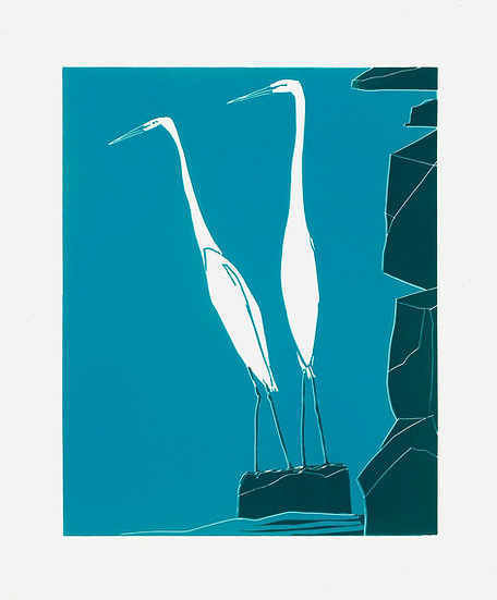 """ Herons on a Rock "" Pack of 6"