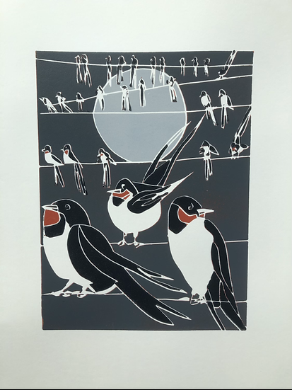 """"""" Swallows Gathering"""" Pack of six blank greeting cards"""