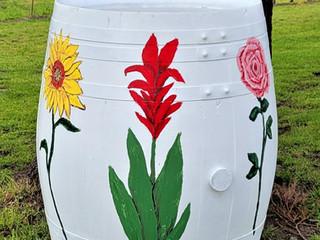 Painted Wine Barrels Celebrate Spring