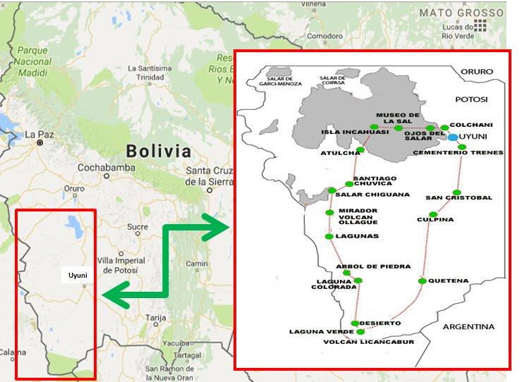 Salar de Uyuni mapa