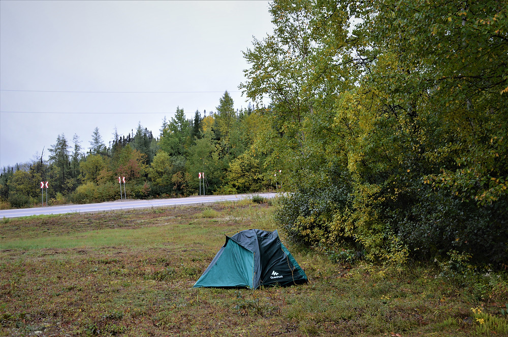 Wild camping after hitchhiking