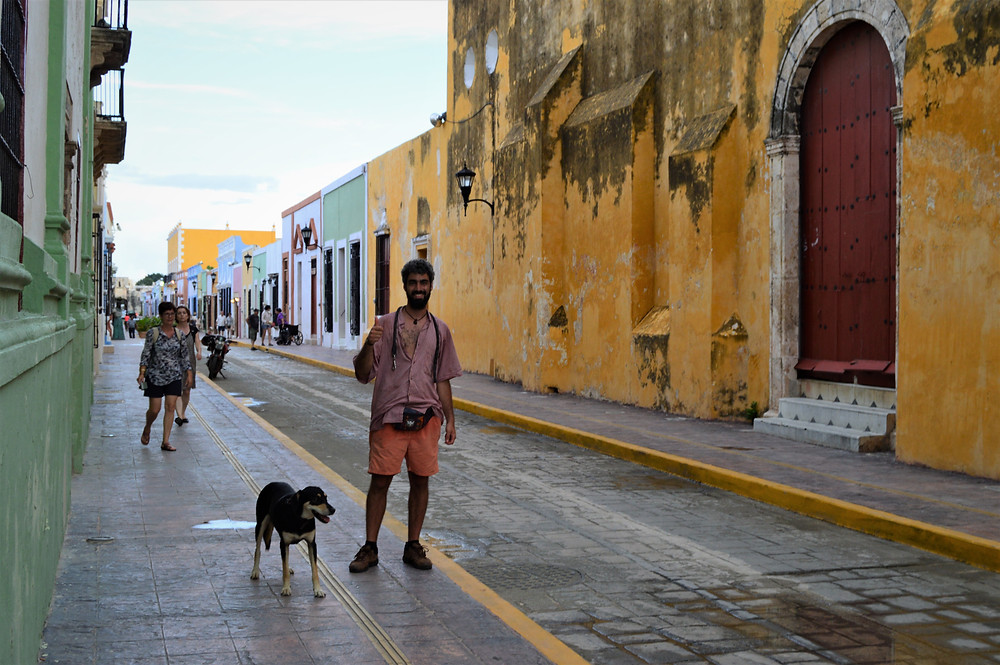 Walking Campeche streets with my dog, Mexico