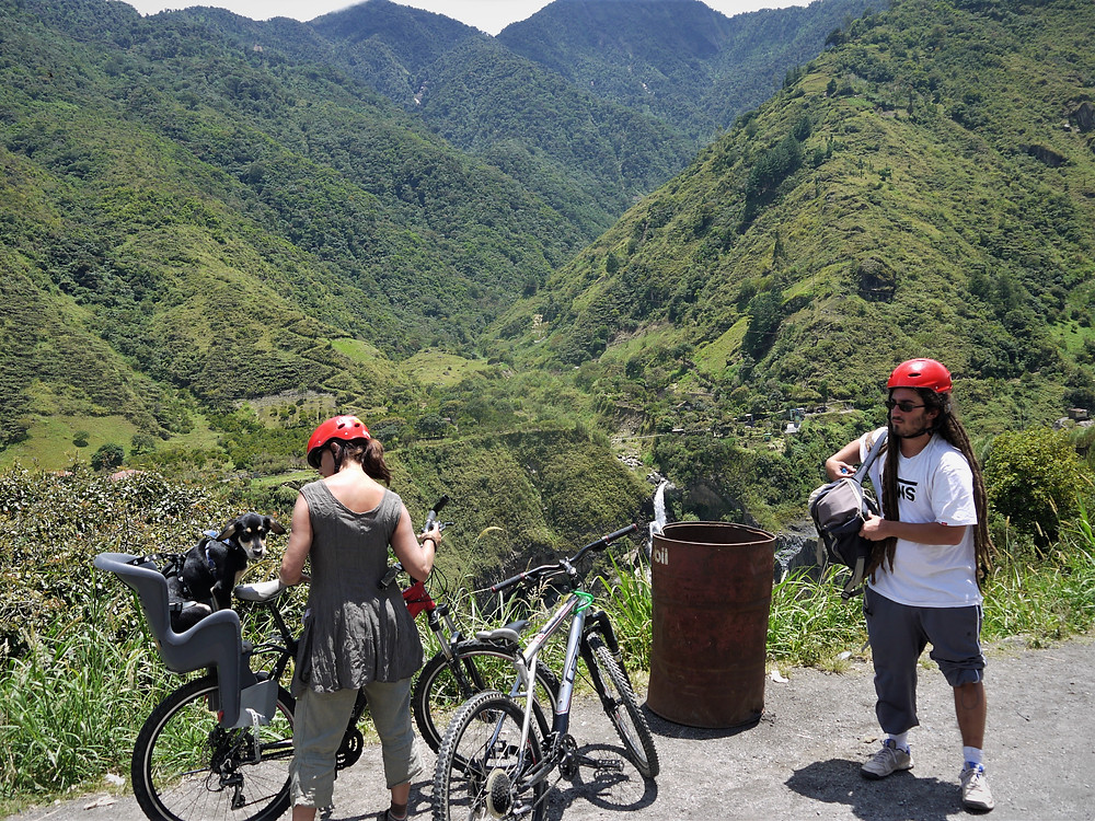 Touring Baños biking with my dog Ecuador