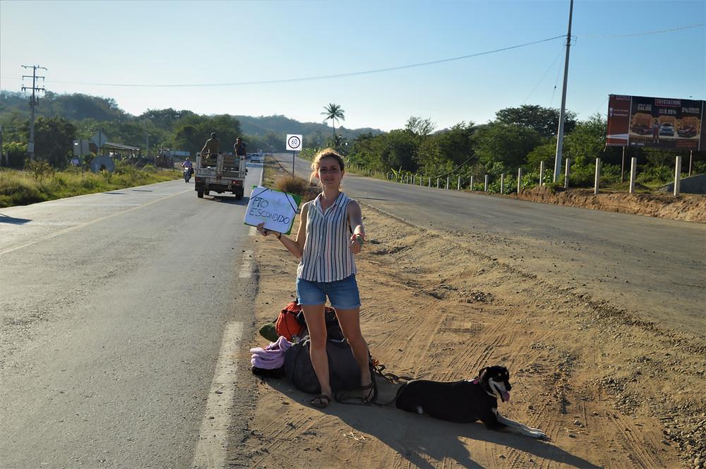 Hitchhiker woman