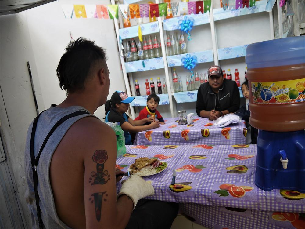 Food stall at the Potosi market