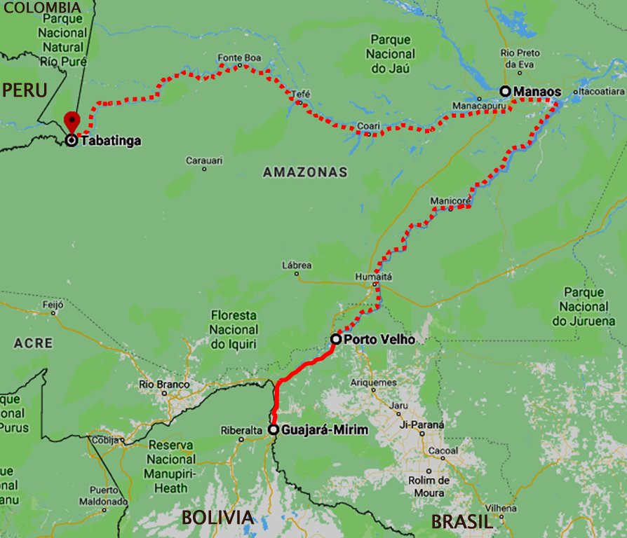 Brazilian Amazon boat trip map