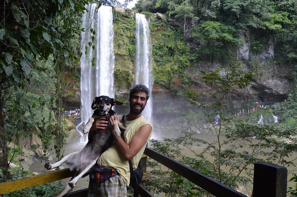 Misol Ha waterfalls with dog