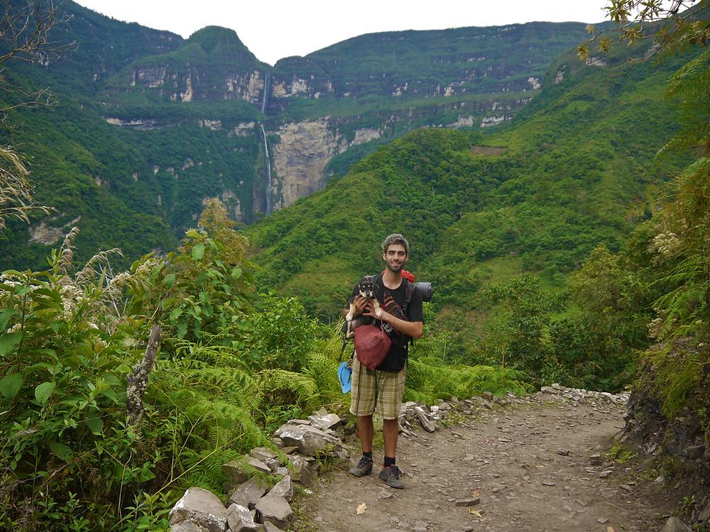 Gocta waterfall hike with my dog