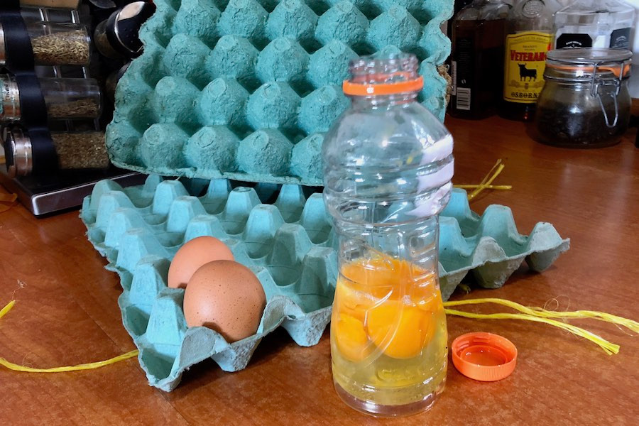 Store eggs in a bottle for easy transport when backpacking and camping