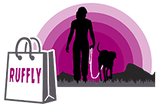 RUFFLY shopping bag in foreground and silhouette of woman walking with dog into pink sunset background