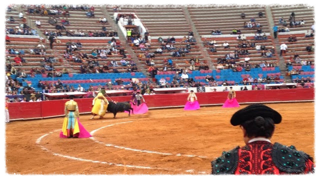 The cuadrilla and the bull during the first tercio of the bullfight