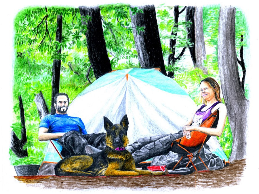 Drawing of a couple and dog sitting beside tent at campsite