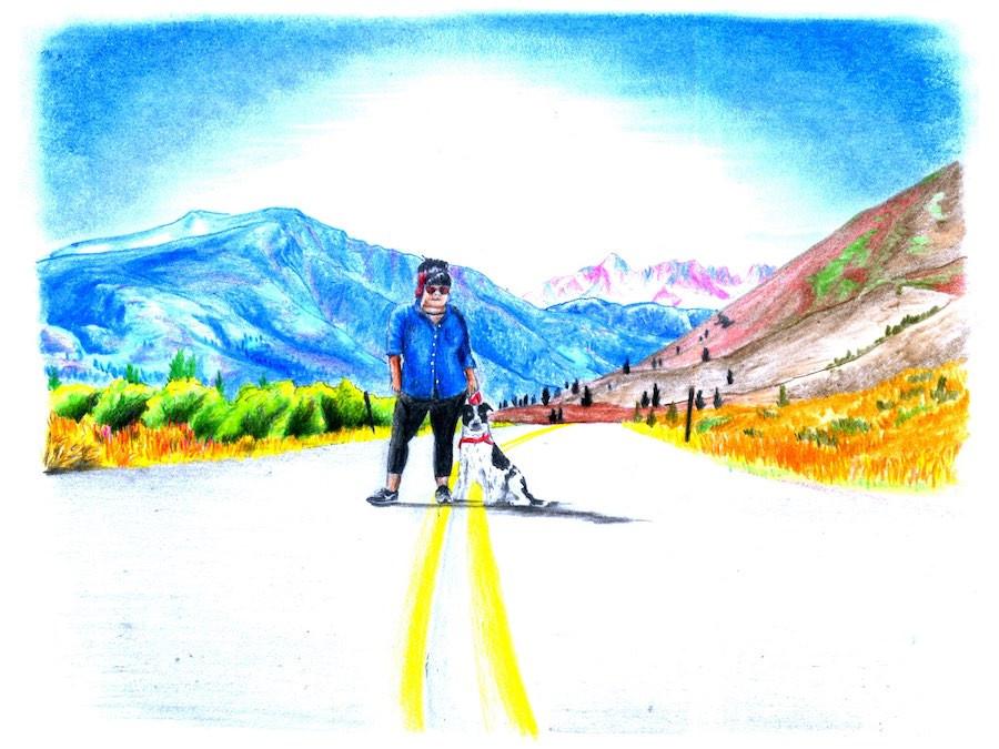 cow dog, girl, and mountains