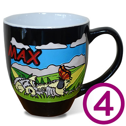 Four My Pup Mugs personalized with original artwork from your favorite photo of your dog engraved and hand-painted