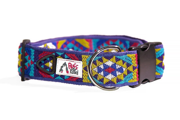 Handmade collar for large dog in sunshine colors on purple webbing