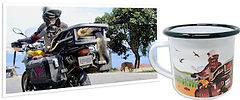 Printed picture of dog on motorcycle beside artist-rendered design of same image printed on enamel camping mug